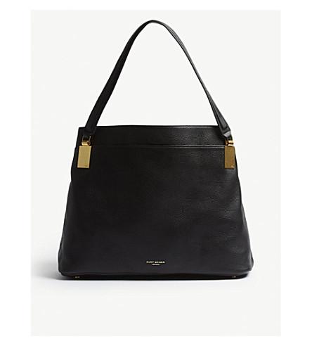KURT GEIGER LONDON Emma grained leather shoulder bag (Black