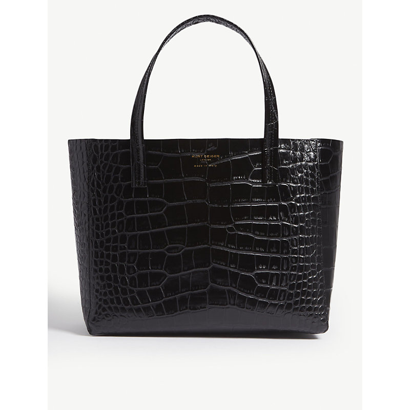 Violet reptile-effect leather horizontal tote