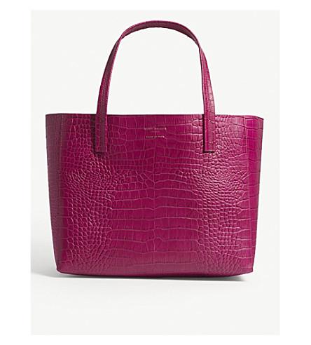 KURT GEIGER LONDON Violet reptile-effect leather horizontal tote (Fushia