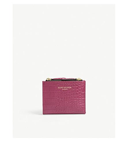 Crocodile-embossed leather mini purse
