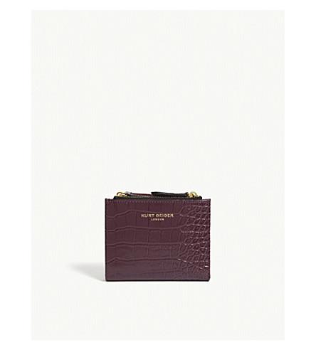 Croc embossed leather mini purse