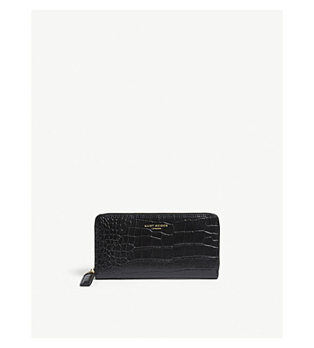 KURT GEIGER LONDON Croc embossed leather wallet (Black