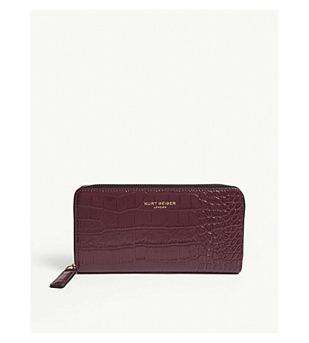 Croc embossed leather wallet
