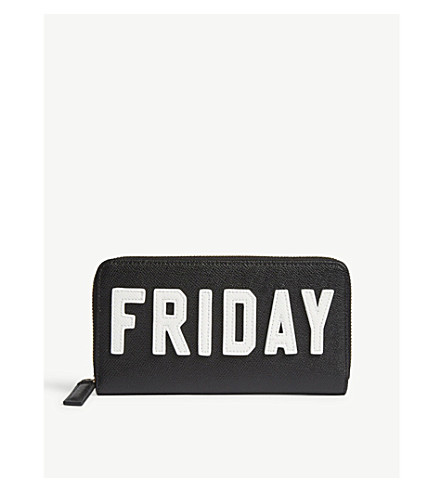KURT GEIGER LONDON 'Friday' motif zip-around Saffiano leather wallet (Blk/white