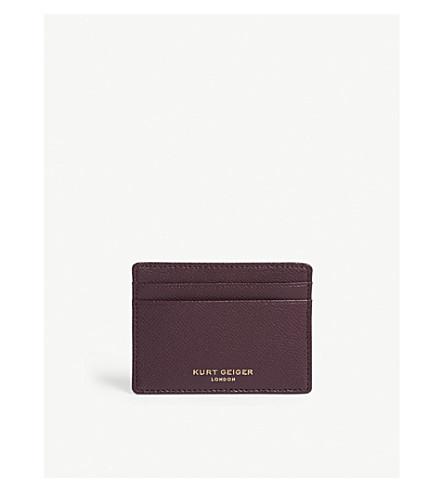 KURT GEIGER LONDON Pebbled leather card holder (Wine