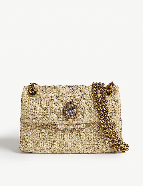 KURT GEIGER LONDON Mini Kensington Raffia shoulder bag 3d1c1069323a0