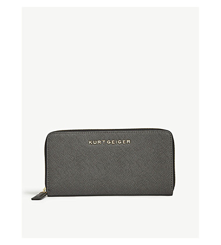 KURT GEIGER LONDON Saffiano leather zip-around wallet (Grey/other