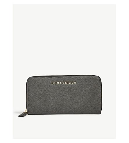 KURT GEIGER LONDON Saffiano 皮革全拉链钱夹 (灰色/其他