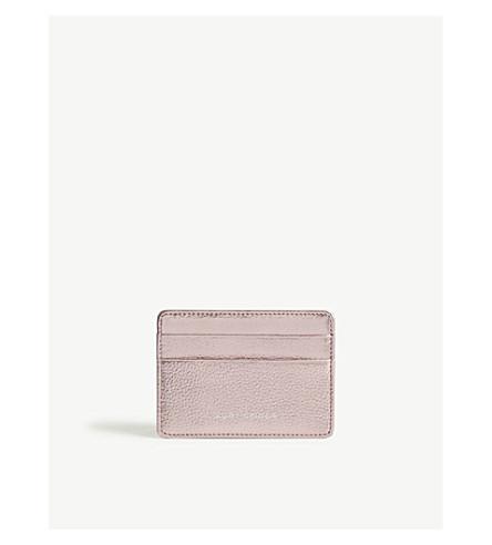 KURT GEIGER LONDON Metallic leather card holder (Pink