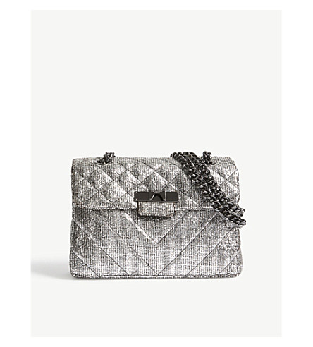 KURT GEIGER LONDON Tweed Kensington cross-body bag (Silver