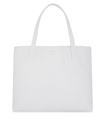 KURT GEIGER LONDON 紫卧式皮革手提袋 (白色