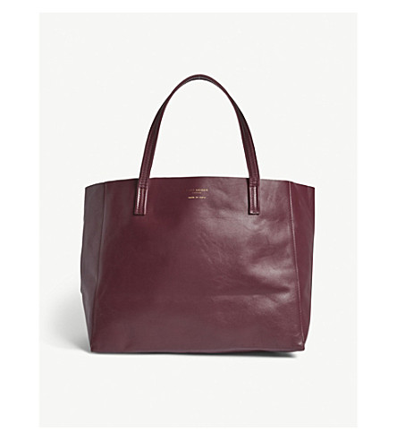 KURT GEIGER LONDON Violet horizontal leather tote bag (Wine+comb