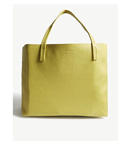 KURT GEIGER LONDON Violet horizontal leather tote bag (Yellow