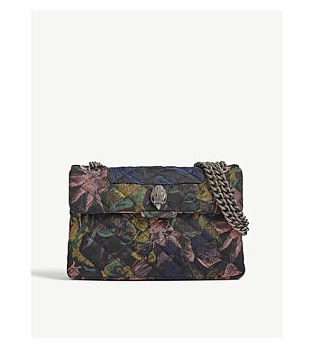 KURT GEIGER LONDON Fabric Kensington floral shoulder bag (Blue/drk.c