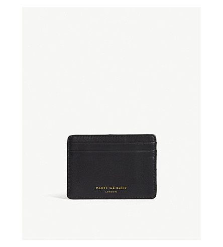 KURT GEIGER LONDON Quilted leather card holder (Black