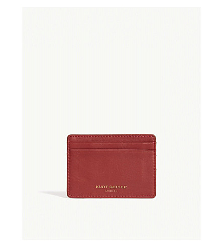 KURT GEIGER LONDON Quilted leather card holder (Red