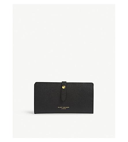KURT GEIGER LONDON新 Saffiano 皮革软钱包 (黑色