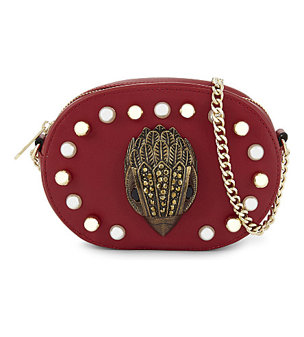 KURT GEIGER LONDON Axel leather cross-body bag (Red+leather