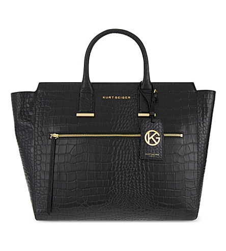 KURT GEIGER LONDON Beatrice crocodile-embossed leather tote (Black+croc