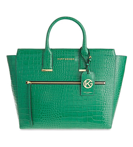 KURT GEIGER LONDON Beatrice crocodile-embossed leather tote (Green+croc