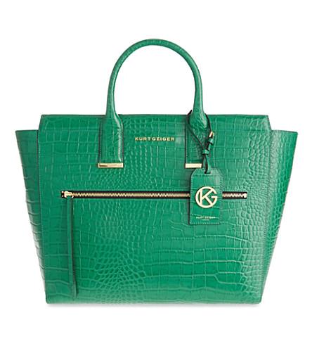KURT GEIGER LONDON Beatrice crocodile-embossed leather tote (Green+croc
