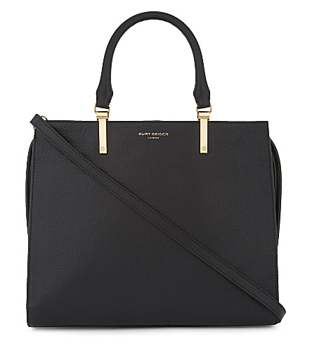 KURT GEIGER LONDON Emma grained leather tote (Black