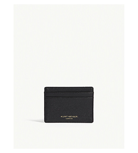 KURT GEIGER LONDON Grained leather card holder (Black