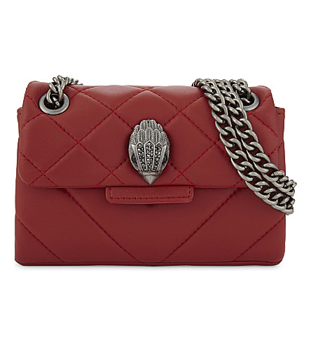 KURT GEIGER LONDON Mini Kensington quilted leather cross-body bag (Red+leather