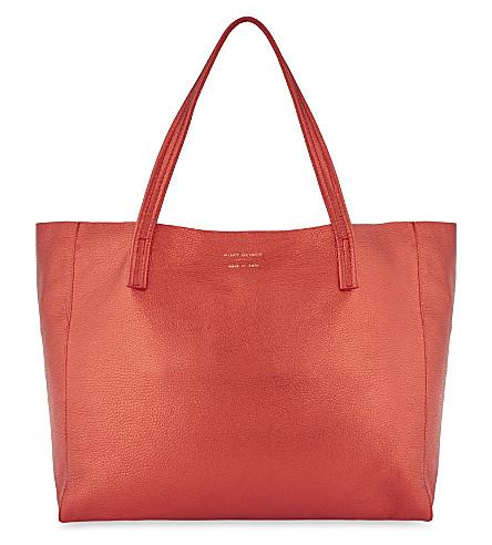 KURT GEIGER LONDON Metallic leather tote (Red+metallic+leather