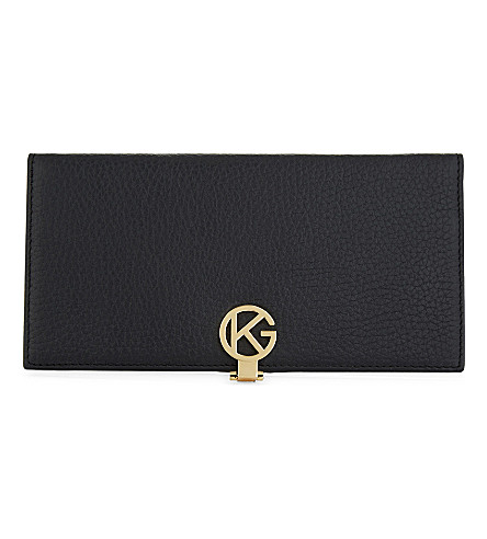 KURT GEIGER LONDON Saffiano leather logo wallet (Black