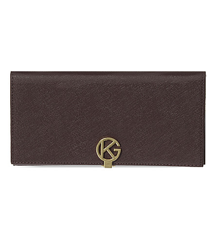 KURT GEIGER LONDON Saffiano leather logo wallet (Wine