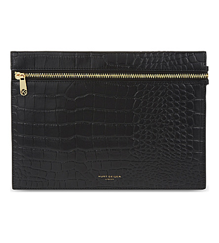 KURT GEIGER LONDON London pouch (Black+croc
