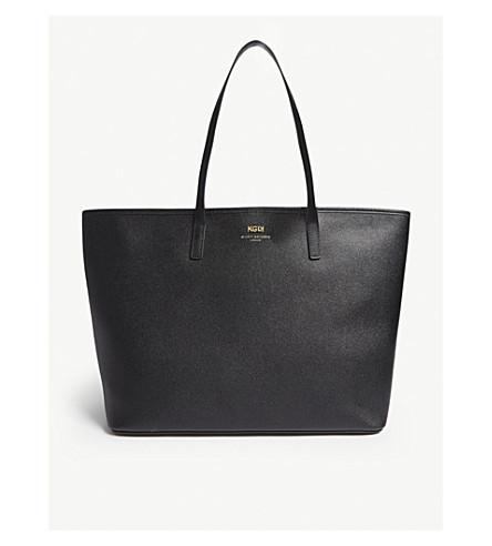 KURT GEIGER LONDON London saffiano leather tote (Black+saff