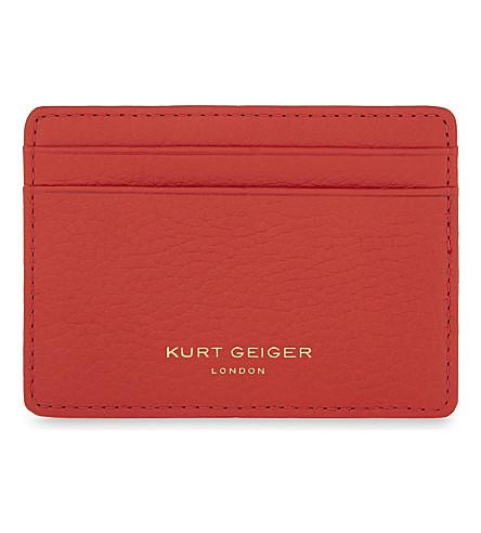KURT GEIGER LONDON Grained leather card holder (Orange