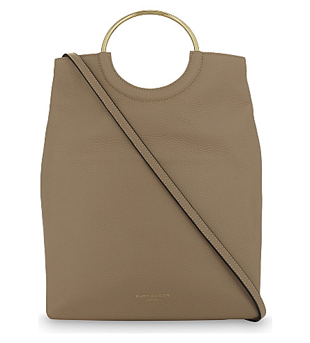 KURT GEIGER LONDON Folded grained leather shoulder bag (Beige