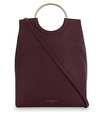 KURT GEIGER LONDON Folded grained leather shoulder bag (Purple