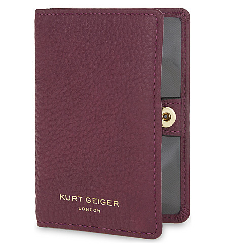 KURT GEIGER LONDON Grained leather travel card holder (Purple