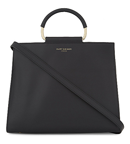 KURT GEIGER LONDON Heidi leather box tote (Black