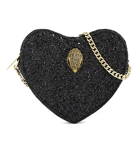 KURT GEIGER LONDON Glitter mini heart cross-body bag (Black