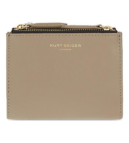 KURT GEIGER LONDON Mini smooth leather purse (Taupe comb