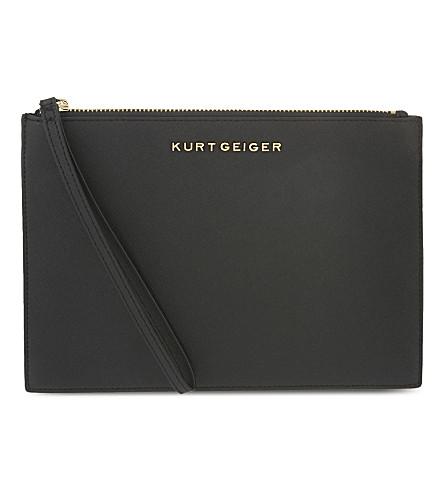 KURT GEIGER LONDON Saffiano leather pouch (Black+saff