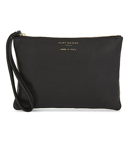KURT GEIGER LONDON Soft grained leather pouch (Black