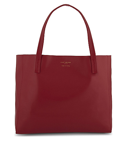KURT GEIGER LONDON Branded leather tote (Red