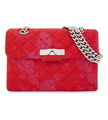 KURT GEIGER LONDON Kensington floral fabric cross-body bag (Red/other
