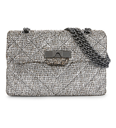 KURT GEIGER LONDON Kensington cross-body bag (Silver+tweed