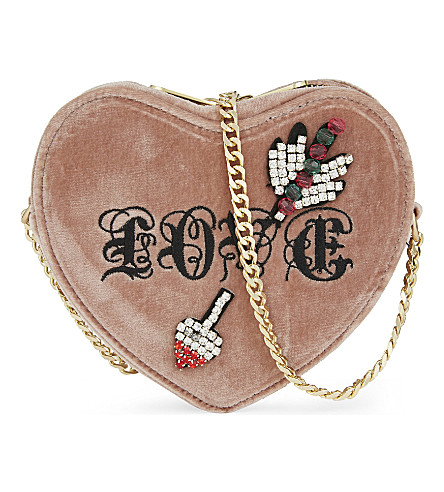 KURT GEIGER LONDON Velvet heart cross-body bag (Pink