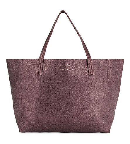 KURT GEIGER LONDON Violet saffiano leather tote (Purple