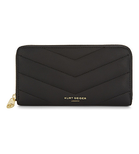 KURT GEIGER LONDON Zip-around wallet (Black+padded