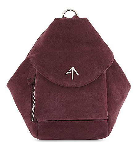 MANU ATELIER Fernweh mini suede backpack (Burgundy