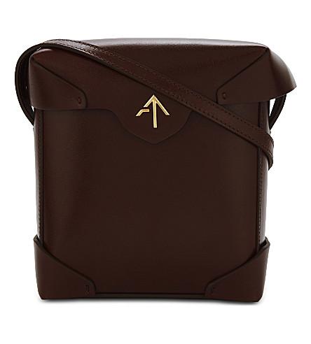MANU ATELIER Mini Pristine leather cross-body bag (Reddish+brown